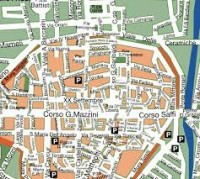 City map of  Faenza and other tourist destinations in the province of Ravenna